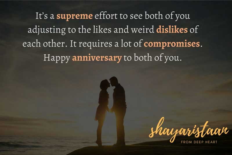 happy anniversary didi and jiju   It's a❤️ supreme🌹 effort to see both of you😃 adjusting to the likes and weird dislikes of😇 each other. It🙂 requires a lot of 😌compromises. Happy😉 anniversary to🥳 both of you.