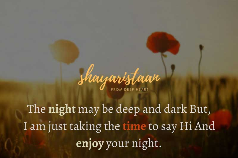 good evening message | The night may be deep and dark But, I am just taking the time to say Hi And enjoy your night.