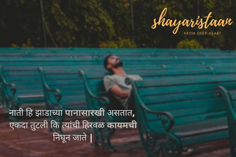 emotional shayari marathi | नाती हि झाडाच्या पानासारखी असतात, एकदा तुटली कि त्यांची हिरवळ कायमची निघून जाते |