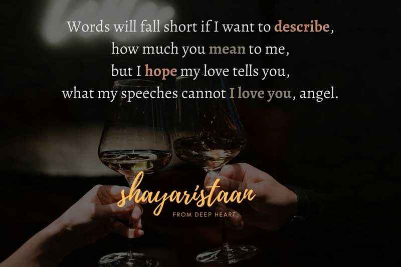 janu i love you shayari | Words will fall short if I want to describe, how much you mean to me, but I hope my love tells you, what my speeches cannot I love you, angel.