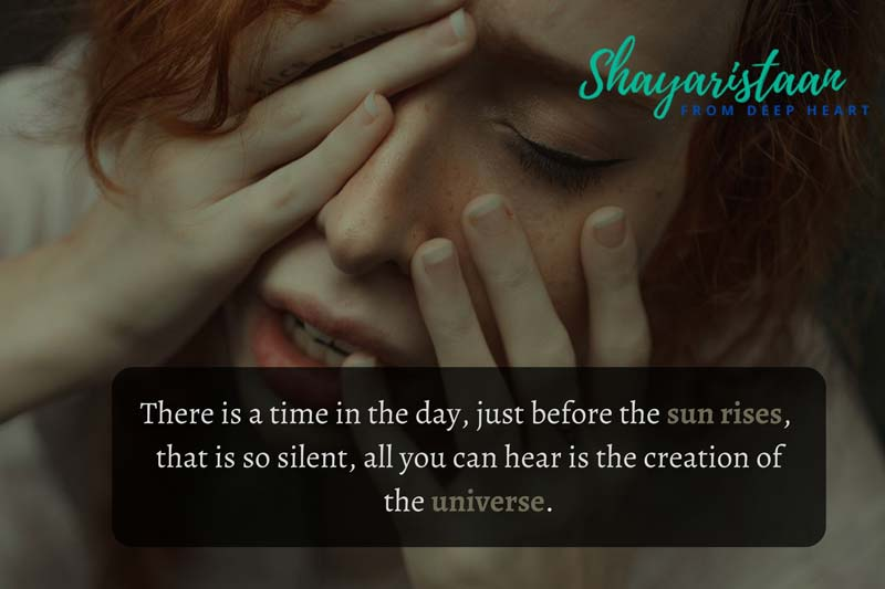 meri khamoshi shayari | There is a time in the day, just before the sun rises, that is so silent, all you can hear is the creation of the universe.