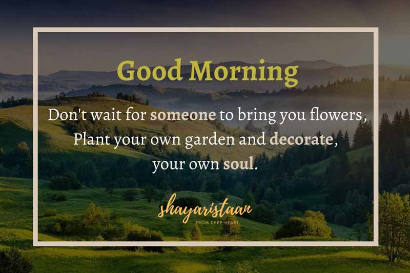 suprabhat sandesh   # Don't😊 wait for someone😊 to bring you flowers, Plant 😊your own garden😊 and decorate, your😊 own soul.Good🌞 Morning. #