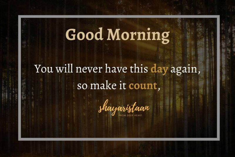 suprabhat shayari | # You😇 will never have this😇 day again, so make😇 it count, Good 😇Morning. #