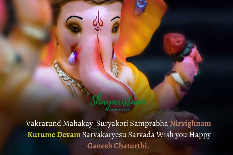 ganesh chaturthi quotes | Vakratund Mahakay Suryakoti Samprabha Nirvighnam Kurume Devam Sarvakaryesu Sarvada Wish you Happy Ganesh Chaturthi.