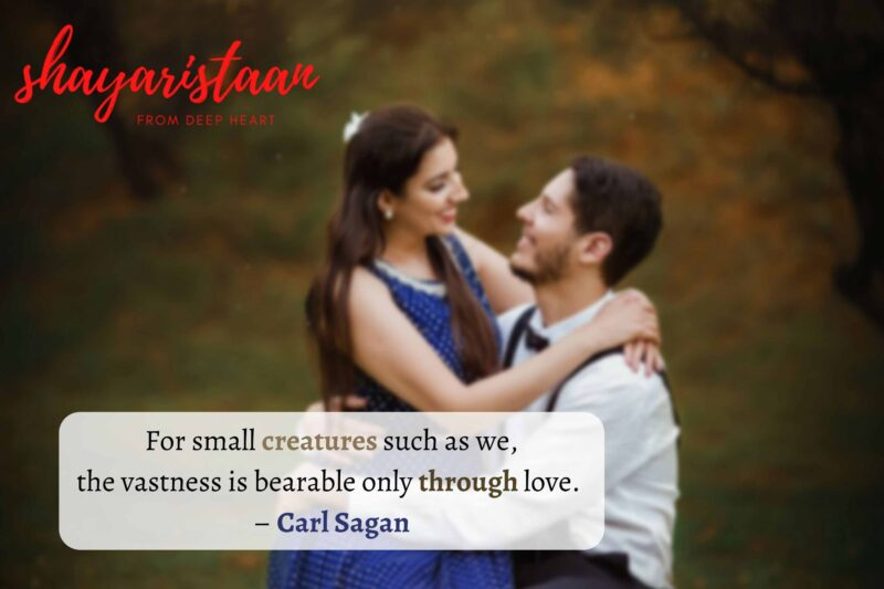 mohabbat quotes | For small creatures such as we, the vastness is bearable only through love.