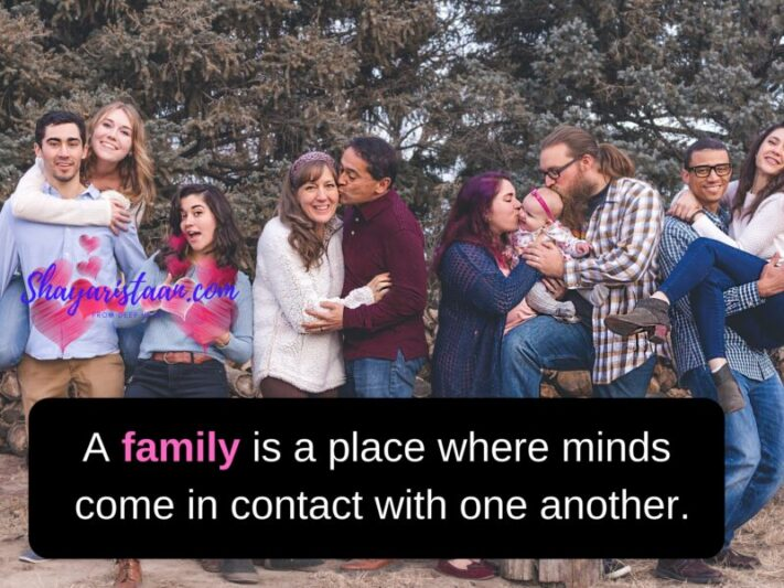 family love status | A family is a place where minds come in contact with one another.