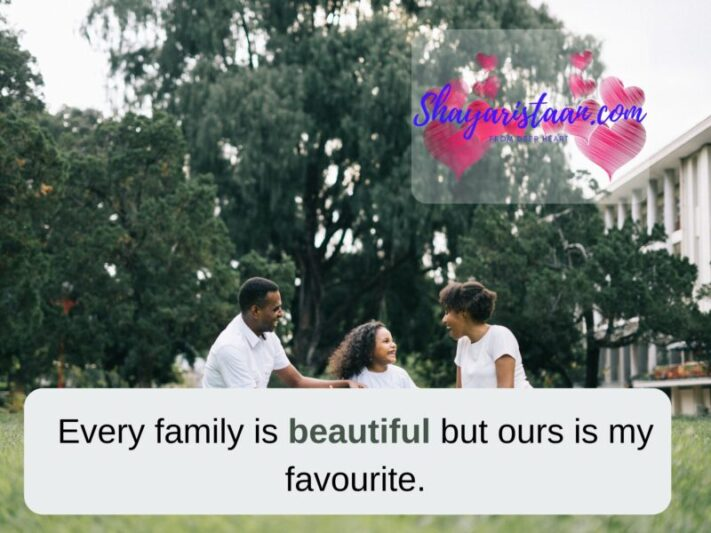 family status in English for whatsapp | Every family is beautiful but ours is my favourite.