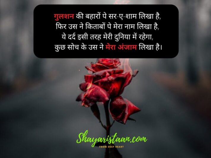 dard shayari in hindi | गुलशन की बहारों पे सर-ए-शाम लिखा है, फिर उस ने किताबों पे मेरा नाम लिखा है, ये दर्द इसी तरह मेरी दुनिया में रहेगा, कुछ सोच के उस ने मेरा अंजाम लिखा है।