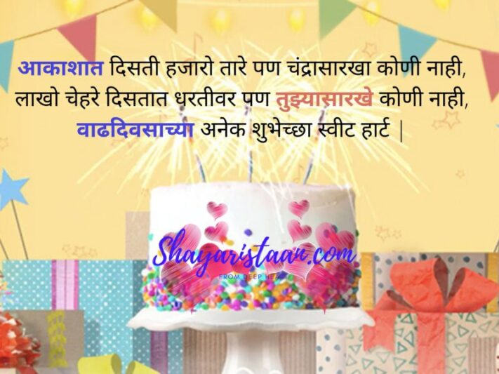 marathi birthday wishes | आकाशात दिसती हजारो तारे पण चंद्रासारखा कोणी नाही, लाखो चेहरे दिसतात धरतीवर पण तुझ्यासारखे कोणी नाही, वाढदिवसाच्या अनेक शुभेच्छा स्वीट हार्ट |