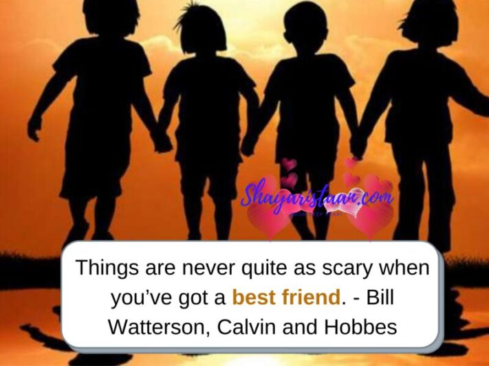 Meaningful friendship quotes | Things are never quite as scary when you've got a best friend. — Bill Watterson, Calvin and Hobbes