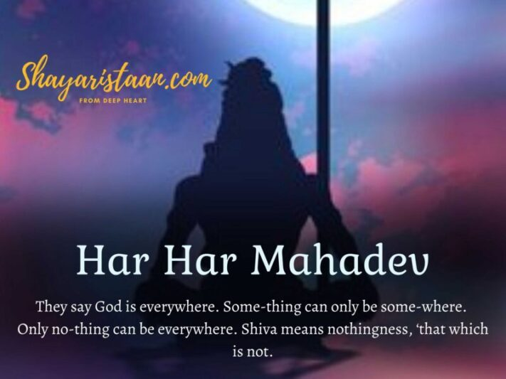 shiv status for whatsapp in hindi | They say God is everywhere. Some-thing can only be some-where. Only no-thing can be everywhere. Shiva means nothingness, 'that which is not.